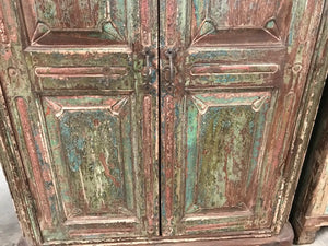 Antique Indian Teak Small Painted Armoire