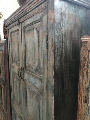 Indian Painted 4 Door Armoire