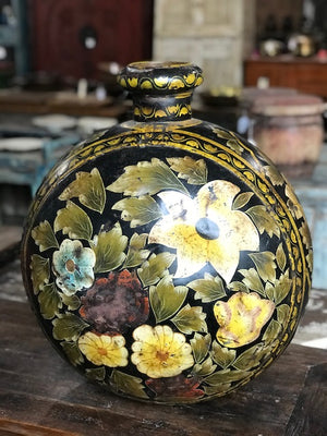 Vintage Indian painted metal pot/vase