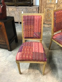 Set of 4 Neoclassic Style Oak Dining Chairs covered in Kantha textiles