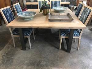 Reclaimed Pine 5' Square Dining Table with an iron base