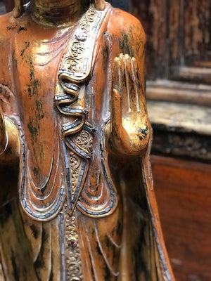 "Thai carved wood painted and gilded ""Mandalay"" Buddha figure, contemporary"