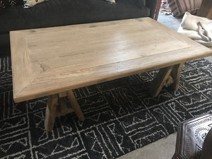 Reclaimed Pine Trestle Base Coffee Table
