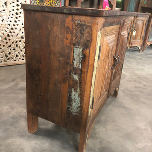 Indian teakwood nightstand made from antique doors and reclaimed wood - 9