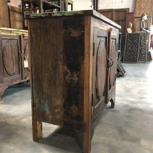 Indian teakwood nightstand made from antique doors and reclaimed wood