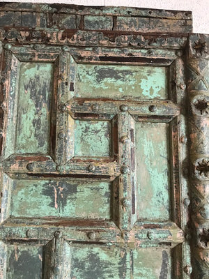 Antique Indian Geometric Carved and Painted Doors