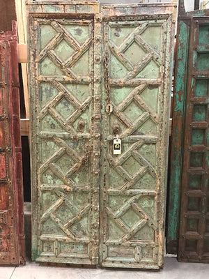 Antique Indian Carved and Painted Doors