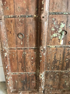 Antique Indian Carved Teak Wood Mughal Arch Doors - 2