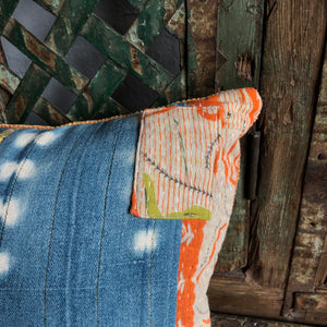 Bolster Pillow made from Vintage Mali Indigo Fabric