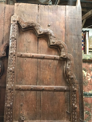 Antique Indian Carved Teak Mughal Arch Doors