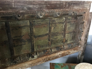 INDIAN  HEADBOARD MADE FROM AN ANTIQUE DOOR