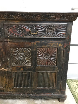 Antique Indian teak wood buffet, the doors with architectural carving