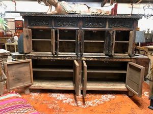 Antique Chinese Lacquered Elm Shrine Cabinet