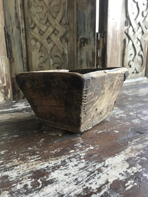 Antique Chinese Pine Rice Measurement Bowl