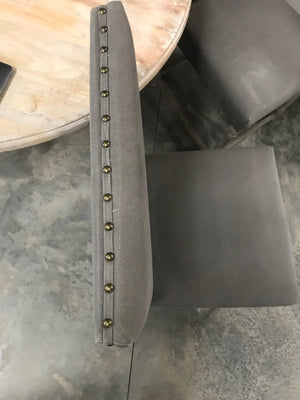 Set of 2 Grey Upholstered Nailhead Dining Chairs