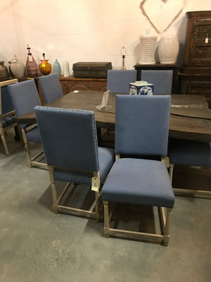Blue Upholstered Nailhead Dining Chairs, 8 available