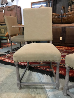 Set of 4 Brown Upholstered Nailhead Dining Chairs