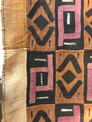 Vintage African Kuba Cloth made from Raffia grass (Rare Magenta Color)