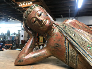Thai large carved wood and painted reclining Buddha figure, contemporary