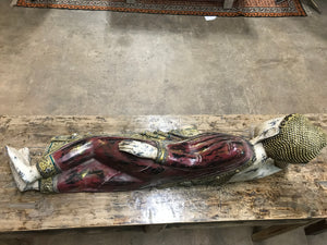 Thai carved wood and painted reclining Buddha figure, contemporary