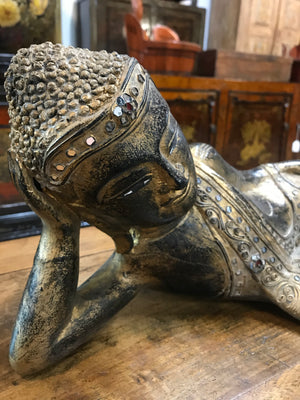 Thai carved wood and gilded reclining Buddha figure, contemporary