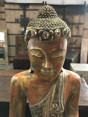Thai carved wood and gilded sitting Buddha figure, contemporary