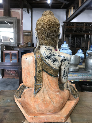 Contemporary Thai carved wood and painted sitting Buddha figure