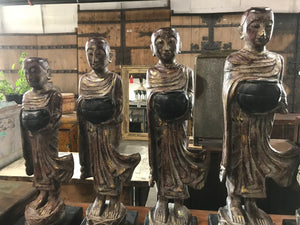 Thai carved wood Buddha and 5 monks, sold as a set