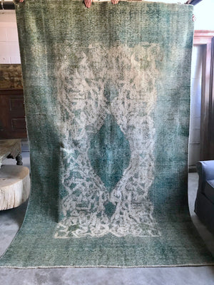 Vintage Turkish Blue/Green Overdye Rug 6.4 x 10.3