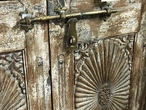 Antique Indian teak door and frame from a Rajasthan haveli