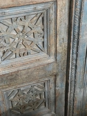 Antique Indian painted teak wood door + frame from a Rajasthan Haveli