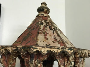 Antique Indian standing bird house, in old paint, rare piece of folk art