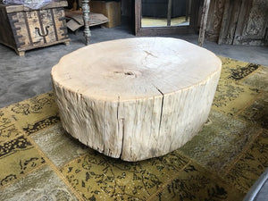 Reclaimed Elm Round Stump coffee table