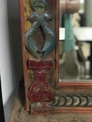 Antique Indian painted and carved mirror