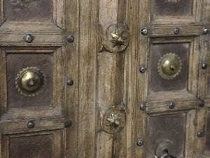 Antique Indian teak wood pair of doors from a Rajasthan Haveli