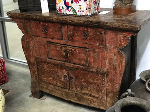 Antique Chinese rustic painted chest of drawers