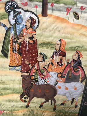 Antique Indian pichwai painting on silk, depicting Krishna, Radha, and Gopis