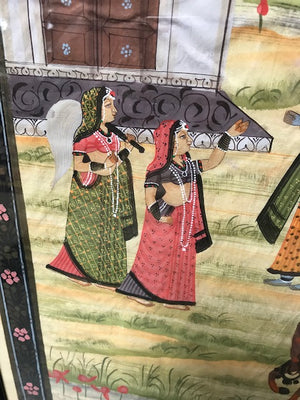 Antique Indian pichwai painting on silk