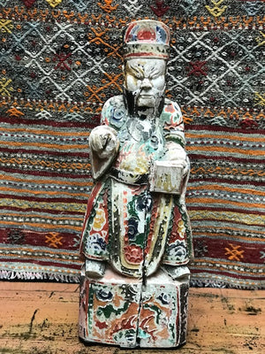 Antique Chinese carved and polychromed ancestral/scholar figure