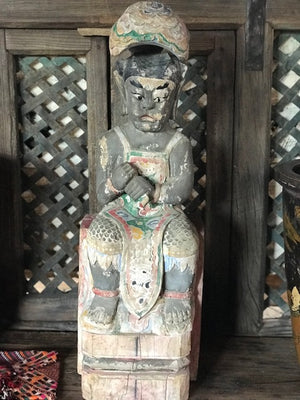 "Antique Chinese carved and polychromed ancestral/scholar figure, Qing dynasty, 28"" high"