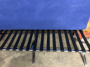 Mid-century Barcelona style bench covered in vintage West African Indigo textiles
