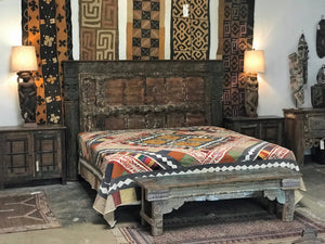 Anglo-Indian King size headboard made from antique teak doors and columns