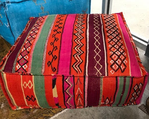 Vintage Moroccan Berber rug square pouf 28 x28x12