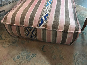 Vintage Moroccan rug square pouf