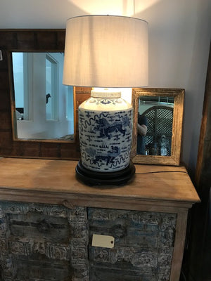 Chinese blue and white confit pot turned into a lamp