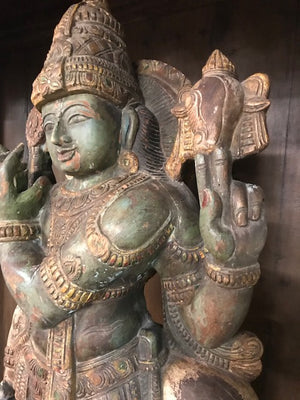 Vintage Indian Carved and Polychromed large wood statue of Krishna