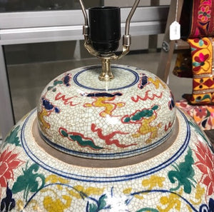 Chinese porcelain ginger jar turned into a lamp