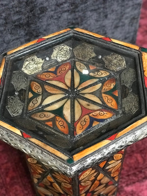 Vintage Moroccan Hexagonal Shape Gueridon/Side Table