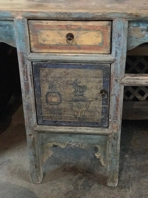 Antique Chinese Painted Pine Altar Table