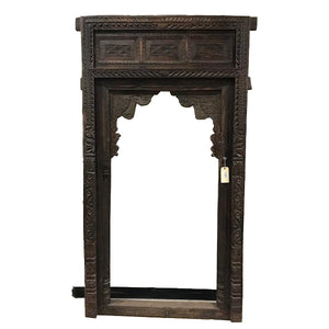 Antique Indian teak wood arch from a Rajasthan Haveli